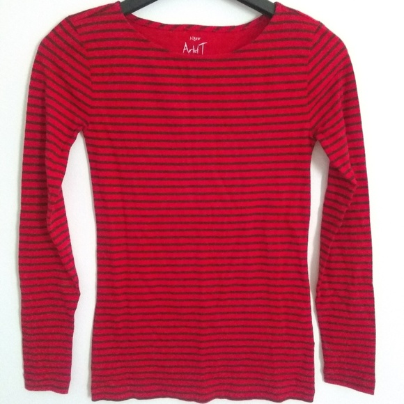 J.Crew Factory Womens XS NWT Burgundy Red Long Sleeve Boat Neck Artist Tee